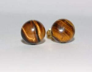 TIGER'S EYE BROWN GEMSTONE STUD EARRINGS 8MM GP