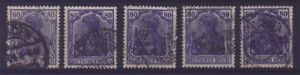 GERMANY-80-PFG-BLUE-GOOD-TYPE-x5-ALL-SIGNED