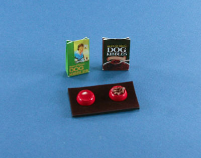 Dollhouse Miniature Set of Dog Food Bags with Filled Food & Water Bowls D2318-28