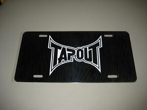 image is loading tap out license plate black aluminum w white