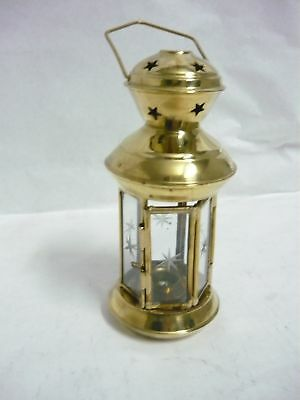 Lantern lamp brass glass to hang candle holder
