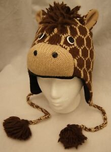 GIRAFFE-HAT-knit-FLEECE-LINED-ski-cap-ADULT-mens-womens-animal-costume-UNISEX