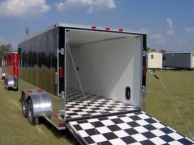 7x16 Enclosed Atv Cargo Motorcycle Trailer Black Finished Interior Toy Hauler