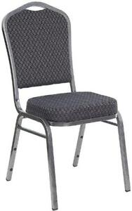 BANQUET CROWN BACK STACK CHAIR WITH BLACK FABRIC and SILVER FRAME
