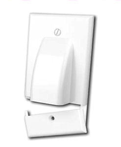 Hinged Bulk Cable Wall Plate, Single Gang, White Bulk