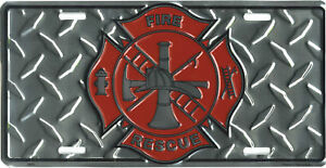 Fire-truck-man-emt-license-plate-paramedic-tag-chevy-ford-dodge-pickup-fighter