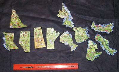 CANADA PROVINCE ARTWOOD MAP MAGNETS - NEW  set of 12 LABRADOR/NEWFOUNDLAND B.C.