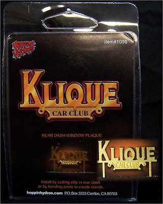 Hoppin Hydros 1/24 Scale Lowrider Club Plaque Klique