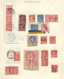 FRANCE-1925-36-SOWER-CANCELS-VARIETIES-24-stamps