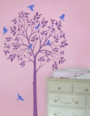 Large Tree And Birds Stencil- Reusable Treet Stencils For Diy Decor - Not Decals