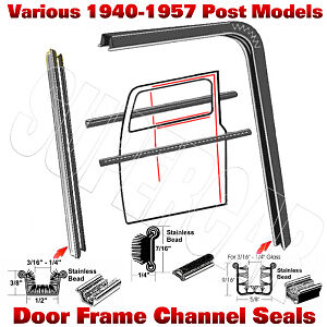 1940-1956-CADILLAC-BUICK-OLDSMOBILE-DOOR-GLASS-FRAME-CHANNELS-51-52-53-54-55-56