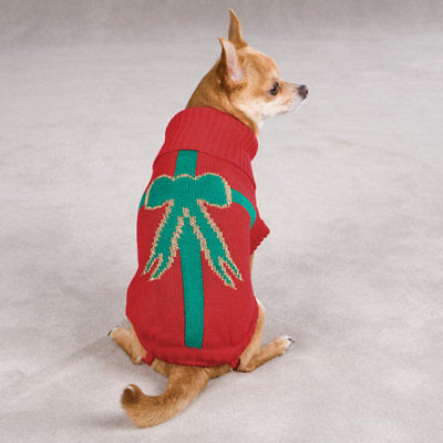 Christmas Present Sweater, Holiday Dog Apparel, 3 Sizes