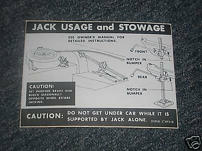 1970 Ford Thunderbird Trunk Jack Instructions Decal