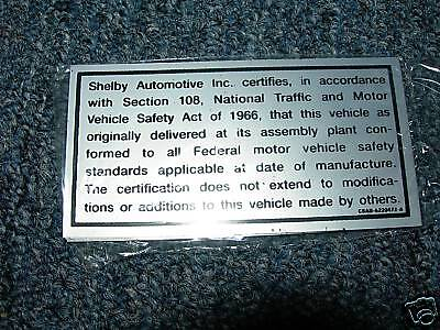 1968 1969 Ford Thunderbird Trunk Safety Decal
