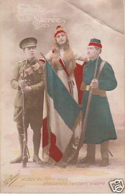 Red blue & white flag French lady 2 soldiers 80506