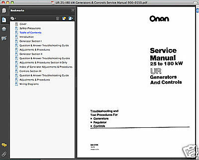 Onan Marquis 7000 Maintenance manual