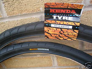 2-Kenda-Puncture-Resist-Protect-cycle-bike-tyres-26-X-1-5-Slick-inc-free-tubes