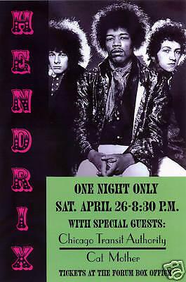 Jimi Hendrix at Los Angeles Forum Concert Poster 1968   13x19
