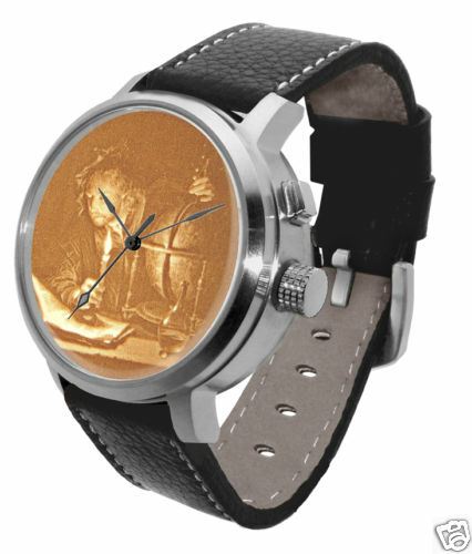 HaloTech Ancient Astronomer Watch: LED lithophane art dou vermeer knowledge