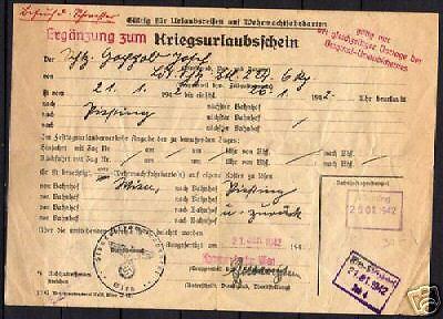 Austria-1942-Kriegsurlaubschein-Wien-Pissting-F-VF