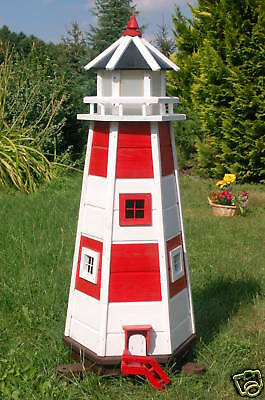 Wunderschöner großer XL Leuchtturm mit Solar Beleuchtung 1,10m rot/weiss, LED
