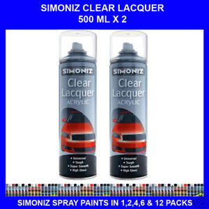 2-X-500-ML-SIMONIZ-CLEAR-LACQUER-SPRAY-PAINT