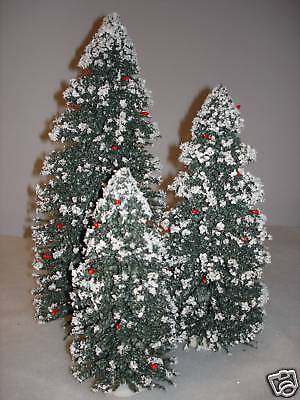 "Byers Choice Set of 3 Snow Covered Christmas Trees 8 12 16"" Mint Tree Accessory"