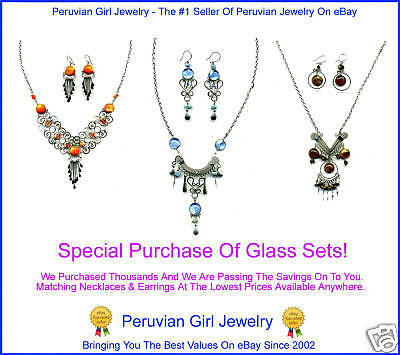 20 NECKLACES EARRINGS PERUVIAN GLASS JEWELRY SETS PERU ARTISAN HANDCRAFTED LOTS