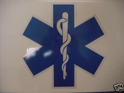 32 Star Of Life -ambulance Decal -blue W/ White Border