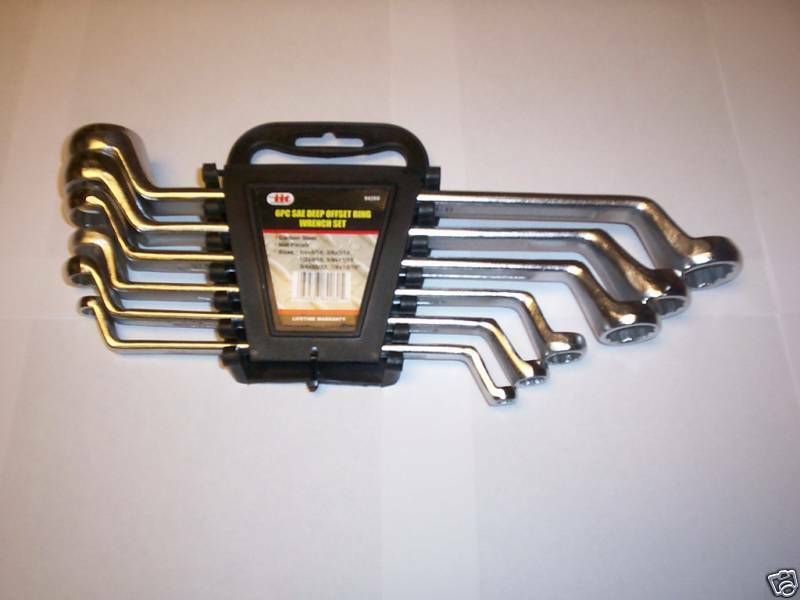 6pc Illinois Industrial Deep Offset Double Box End Ring Wrench Set Metric 84270