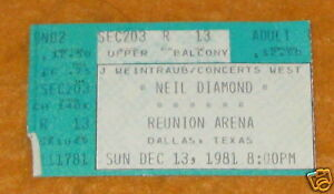 NEIL DIAMOND CONCERT TICKET STUB DALLAS TX 12/13/81