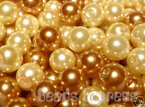 100 Glass Pearl Round Beads - Golden Mix 6mm (CR6025)