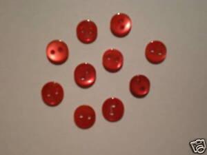 Botones DE NÁCAR 6mm para Zapatos y el vestido Muñeca LOTE DE 10 Rojo