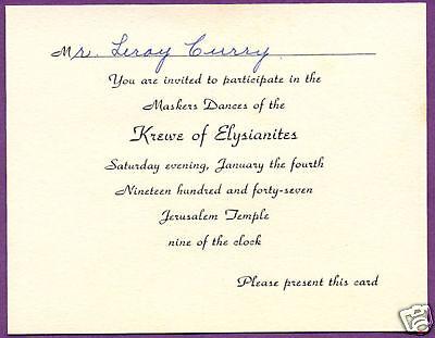 Krewe Elysianites 1947 Mardi Gras Ball invitation card