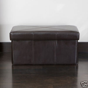 Folding-Design-Brown-Faux-Leather-Collapsible-Storage-Ottoman-Seat