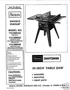 Sears-Craftsman-Table-Saw-Manual-Model-113-298032