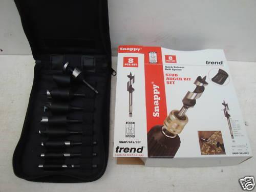TREND SNAPPY 8PCE STUB AUGER WOOD DRILL BIT SET SNAP/SA1/SET + 12 PENCILS