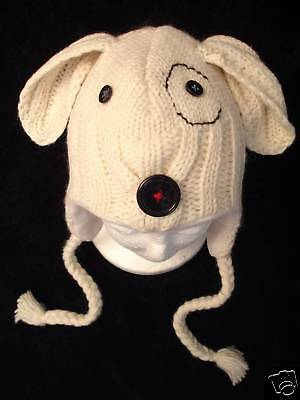 Delux Cable Sock Dog Hat Knit Adult Costume Lined Mens Womens For Humans Snoopy