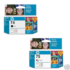 HP 74 75 Genuine ink Cartridges BK Colour set CB335WA