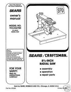 craftsman 10 inch radial arm saw manual