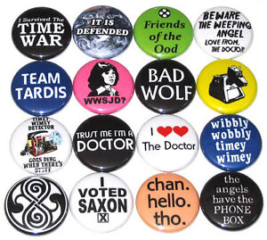 DR. WHO BADGES -- Badge Buttons Pins x 16 Doctor Who
