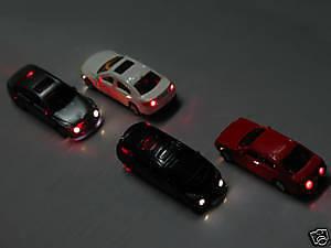 3 St. Modellauto beleuchtet LED zu Spur H0