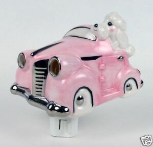 Henry-Cavanagh-Poodles-Pink-Car-3D-Ceramic-Night-Light-A-White-Poodle-Driving