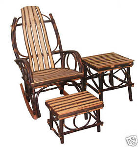 Amish Hickory Set Rocking Chair Foot Stool Table Quick SHIP EBay