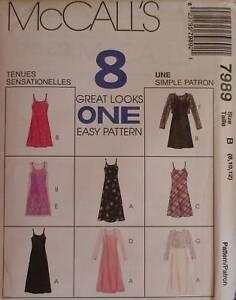 7989 Vintage McCalls SEWING Pattern Misses EZ Slip Dresses UNCUT Easy OOP EASY