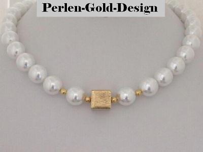 Perlen Collier Kette Gold Goldwürfel weiß Perlenkette Damen  (Eleg 91)