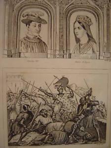 Gravure Prise de MONTEREAU Charles VII Marie d'Anjou - France - Période: XIXme et avant - France