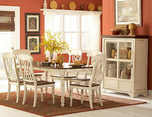 CASUAL-COUNTRY-WHITE-OR-BLACK-DINING-TABLE-amp-CHAIRS-DINING-ROOM-FURNITURE-SET