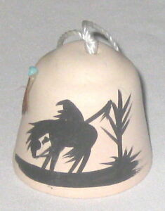 Bell-2-Pottery-Horse-Rider-Silhouette-w-Feather