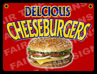 Cheeseburger Sign- Concession Trailerstand Restaurant 12 X 17 Pvc